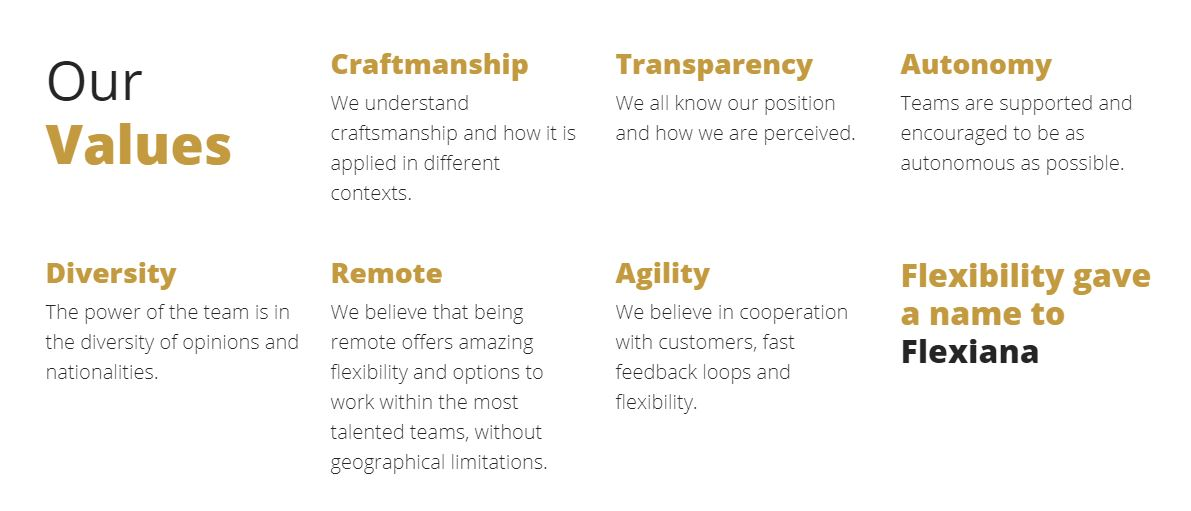 our values overview