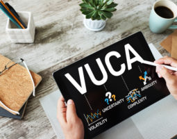 Look at tablet with VUCA descriprion