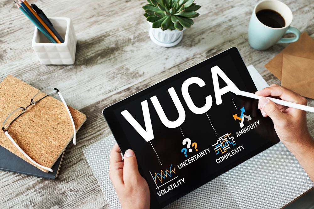 Man with Vuca acronym